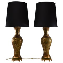 Pair of Brass Marbro Champlevé Enamel Floral Table Lamps