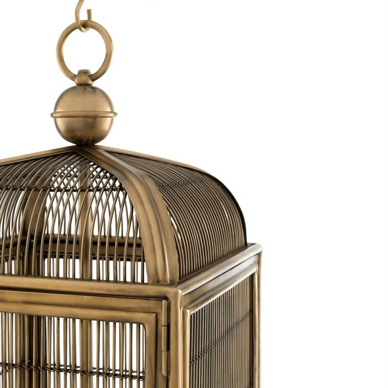 Mid-Century Modern Pair of Brass Modern Falcon Birdcage Hall Lanterns Eichholtz Germany Midcentury For Sale
