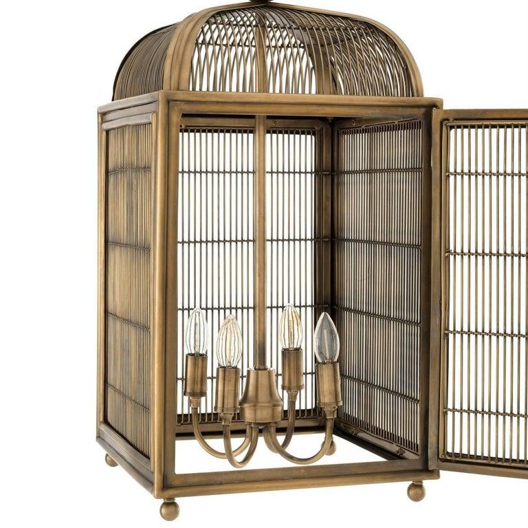 Burnished Pair of Brass Modern Falcon Birdcage Hall Lanterns Eichholtz Germany Midcentury For Sale