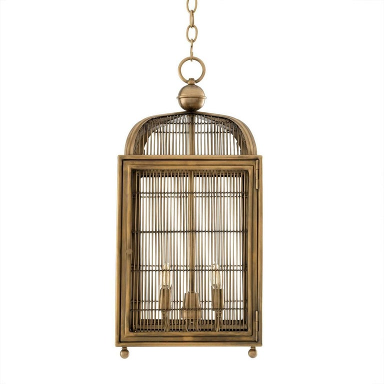 Contemporary Pair of Brass Modern Falcon Birdcage Hall Lanterns Eichholtz Germany Midcentury For Sale