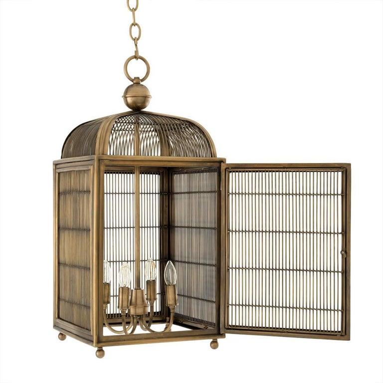 Pair of Brass Modern Falcon Birdcage Hall Lanterns Eichholtz Germany Midcentury For Sale 1