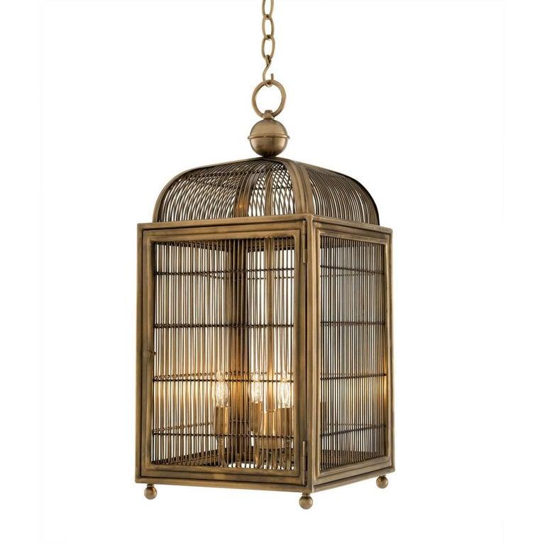 Pair of Brass Modern Falcon Birdcage Hall Lanterns Eichholtz Germany Midcentury For Sale 2