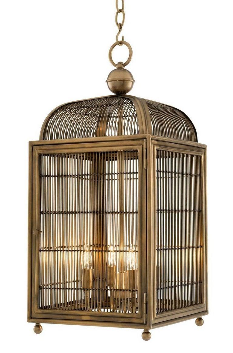 Pair of Brass Modern Falcon Birdcage Hall Lanterns Eichholtz Germany Midcentury For Sale 3