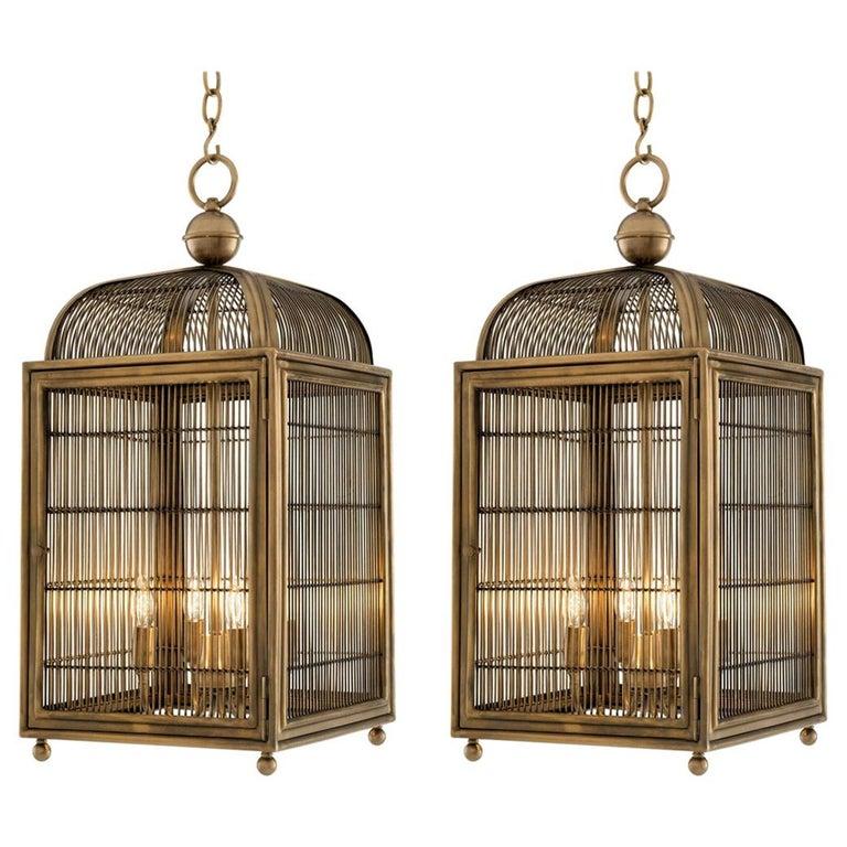 Pair of Brass Modern Falcon Birdcage Hall Lanterns Eichholtz Germany Midcentury For Sale