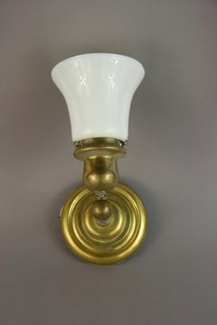 Pair Brass Sconces with Glass Shade circa 1940's