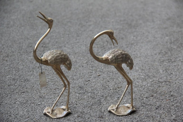 Pair of Brass Sculptures of 1960 Gold Colored Flamingos Solid Brass For Sale 1