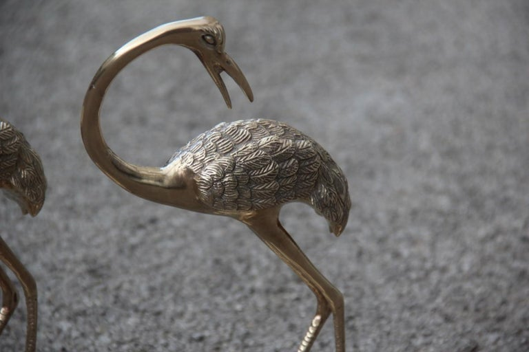 Pair of Brass Sculptures of 1960 Gold Colored Flamingos Solid Brass For Sale 3