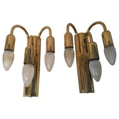 Pair of Brass Three Arms Sputnik Sconces, 1960s, Germany