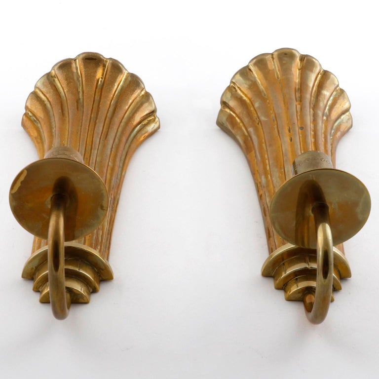 Art Deco Pair of Brass Wall Candleholders Sconces, Lars Holmström, Arvika, circa 1925 For Sale