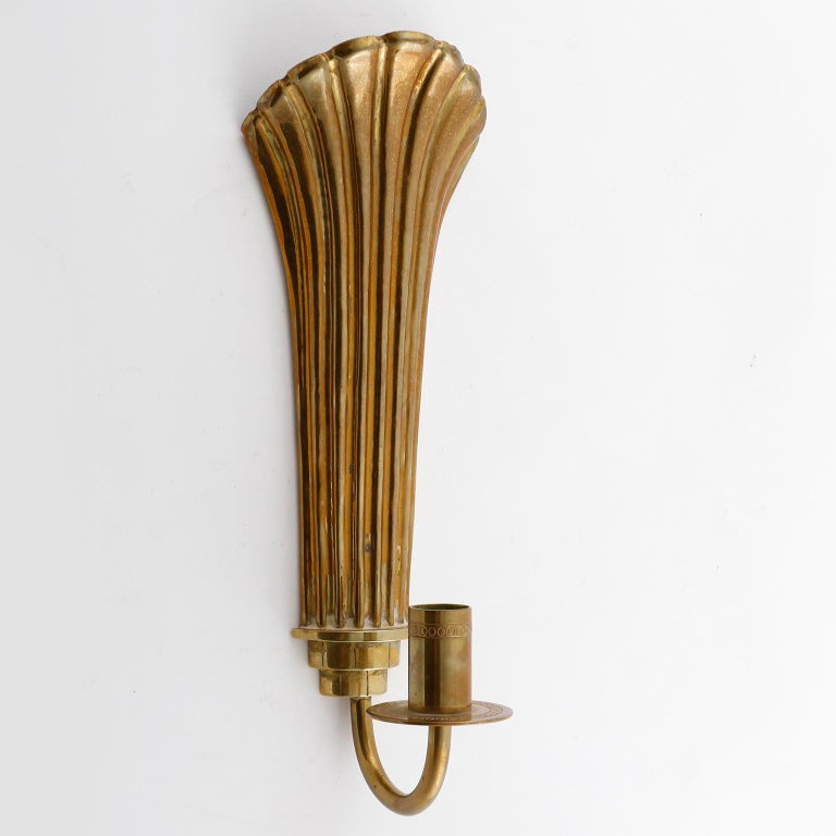 Pair of Brass Wall Candleholders Sconces, Lars Holmström, Arvika, circa 1925 In Good Condition For Sale In Vienna, AT
