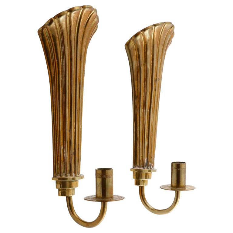 Pair of Brass Wall Candleholders Sconces, Lars Holmström, Arvika, circa 1925 For Sale