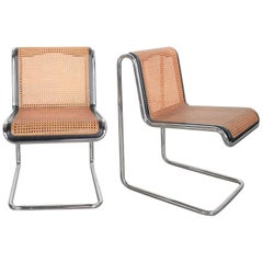 Thonet Bauhaus Style Reverse Cantilever Chairs in Chrome Black Cane by Umanoff