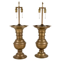 Pair Bronze Balustrade Lamps, Large