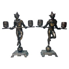 Pair of Bronze Clown Candlesticks Sculptures Probably, French, circa 1890