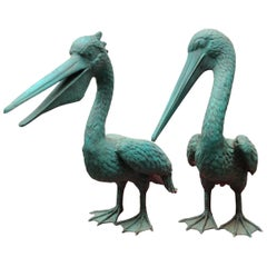 Pair of Bronze Pelican Birds Garden Statues Bird, 20th Century