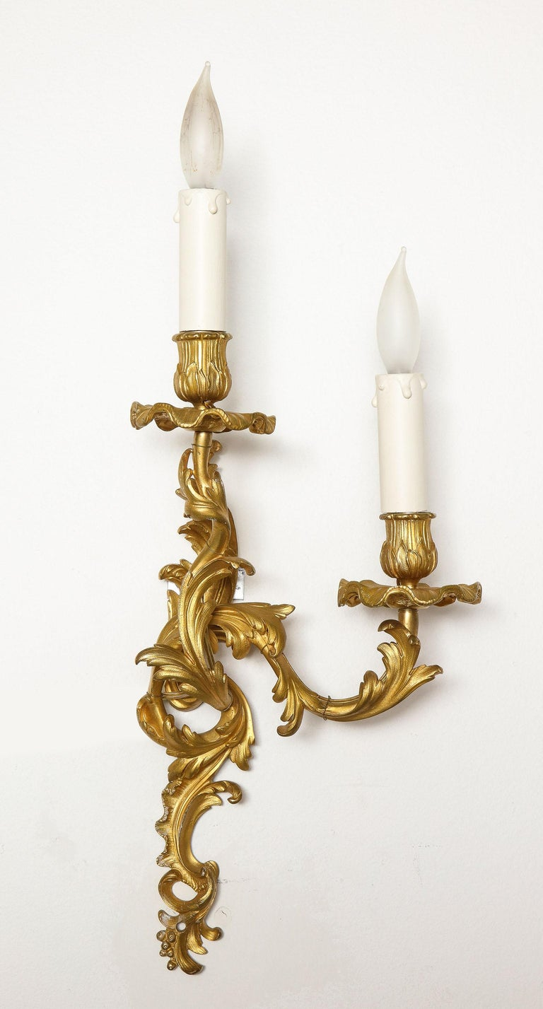 19th Century Pair of Bronze Sconces For Sale