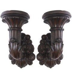 Pair of Bronze Wall Mounted Torchères, French, 19th Century