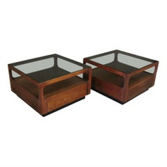 Pair of Brown Saltman Walnut and Smoked Glass End Tables with Storage, John Keal