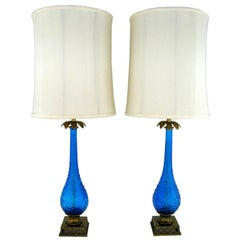 Pair Bubble Textured Blue Glass Table Lamps With Brass Accents