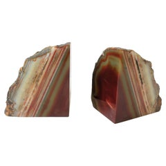 Red Burgundy Onyx Marble Bookends, a Pair, circa 1970s