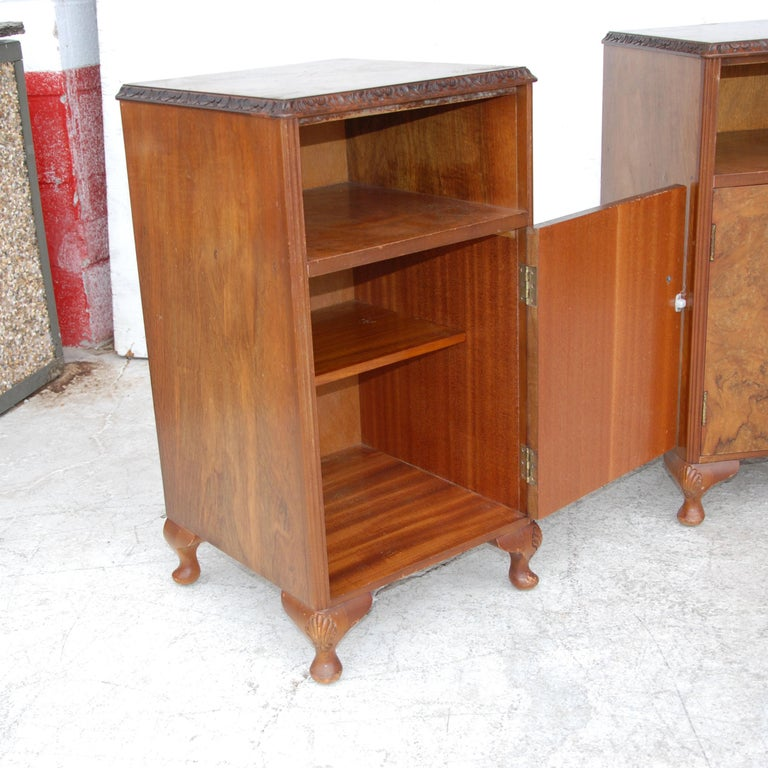 Pair Burl European walnut burl nightstands  Rich burl with brass pulls and Queen Anne legs.   Open and closed shelving.