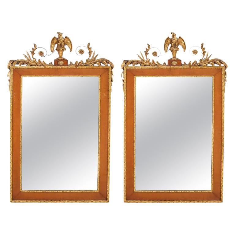 Pair Burlwood Framed / Top Details Hanging Wall Mirror