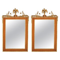 Pair Burlwood Framed / Top Details Hanging Wall Mirror