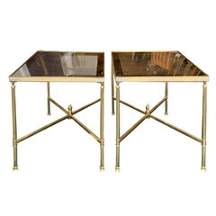 Pair of Italian Brass Side Tables, Glass Tops, Attributed to Maison Baguès