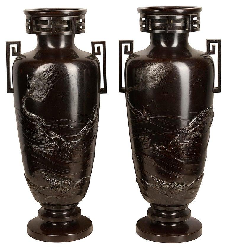 Japonisme Pair of Japanese Meiji / Taisho Period '1900-1920' Cast Bronze Vases / Lamps For Sale