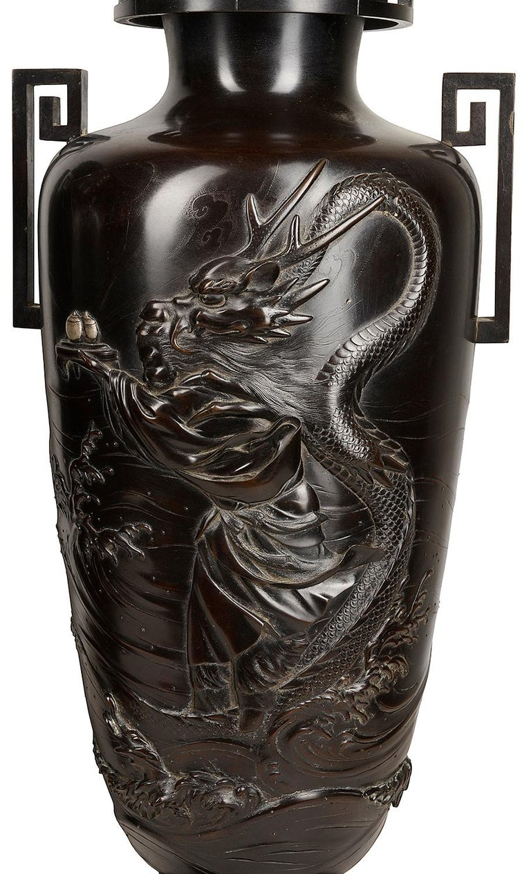 20th Century Pair of Japanese Meiji / Taisho Period '1900-1920' Cast Bronze Vases / Lamps For Sale