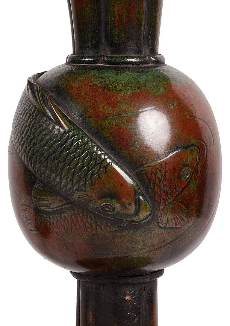Japonisme Pair of 19th Century Japanese Meiji Period Bronze Carp Vases For Sale