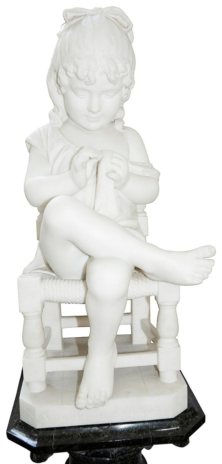 Pair of 19th Century Marble Statues of Young Children, Signed; Cesare Lapini  6
