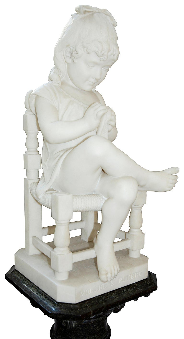 Pair of 19th Century Marble Statues of Young Children, Signed; Cesare Lapini  10