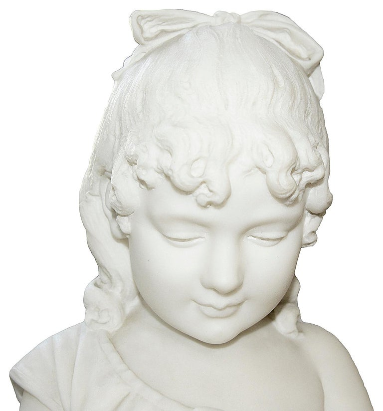 Pair of 19th Century Marble Statues of Young Children, Signed; Cesare Lapini  11