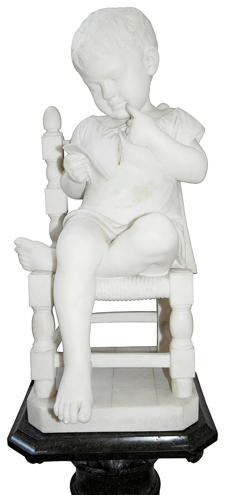 Romantic Pair of 19th Century Marble Statues of Young Children, Signed; Cesare Lapini
