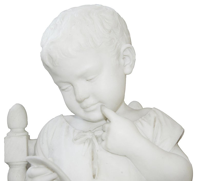 Italian Pair of 19th Century Marble Statues of Young Children, Signed; Cesare Lapini