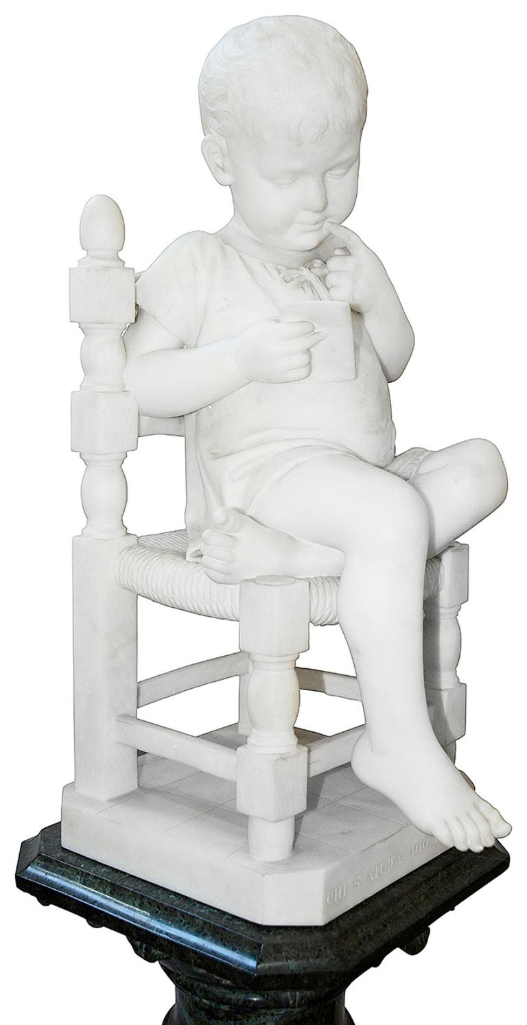 Hand-Carved Pair of 19th Century Marble Statues of Young Children, Signed; Cesare Lapini