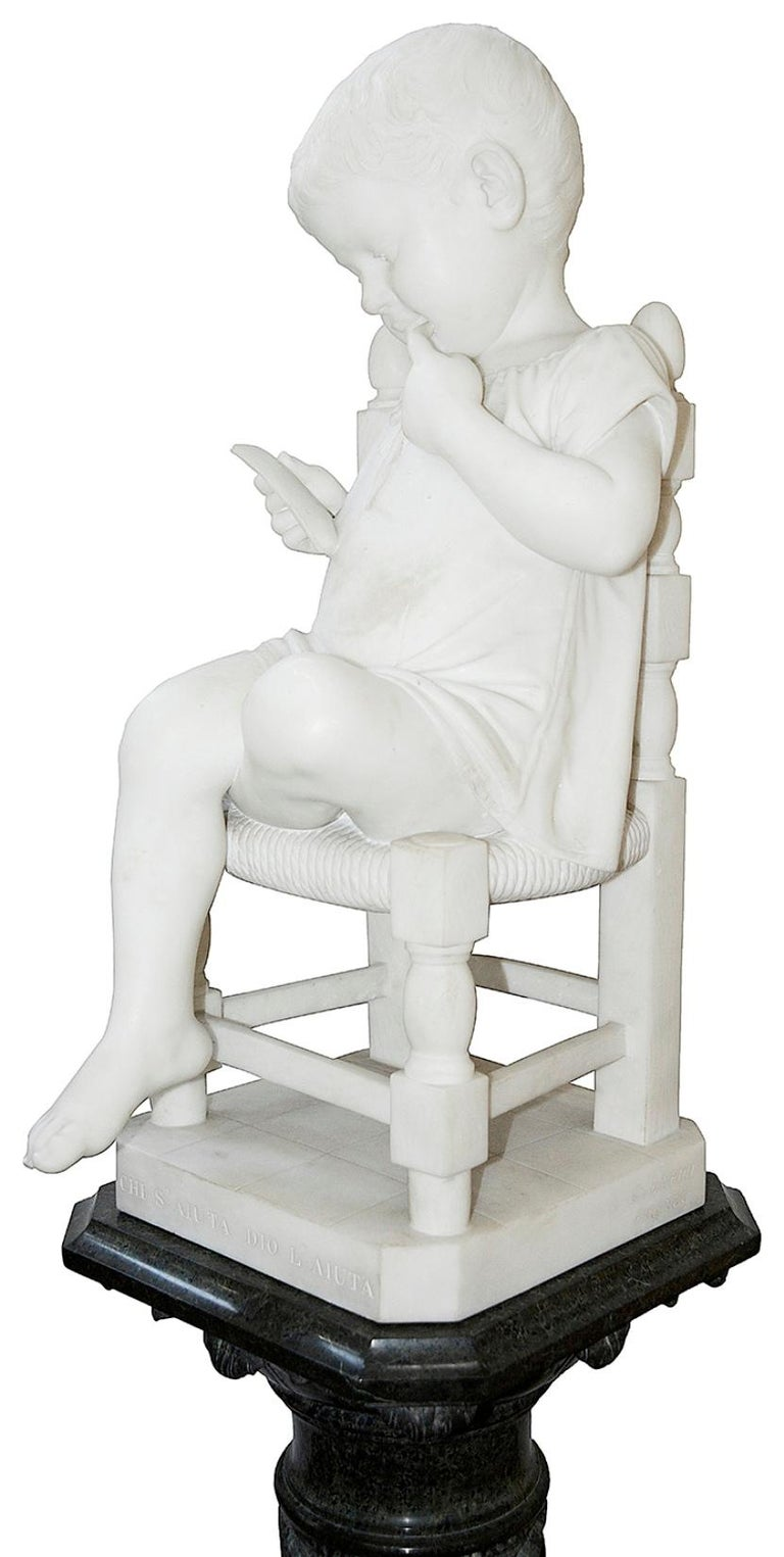 Carrara Marble Pair of 19th Century Marble Statues of Young Children, Signed; Cesare Lapini