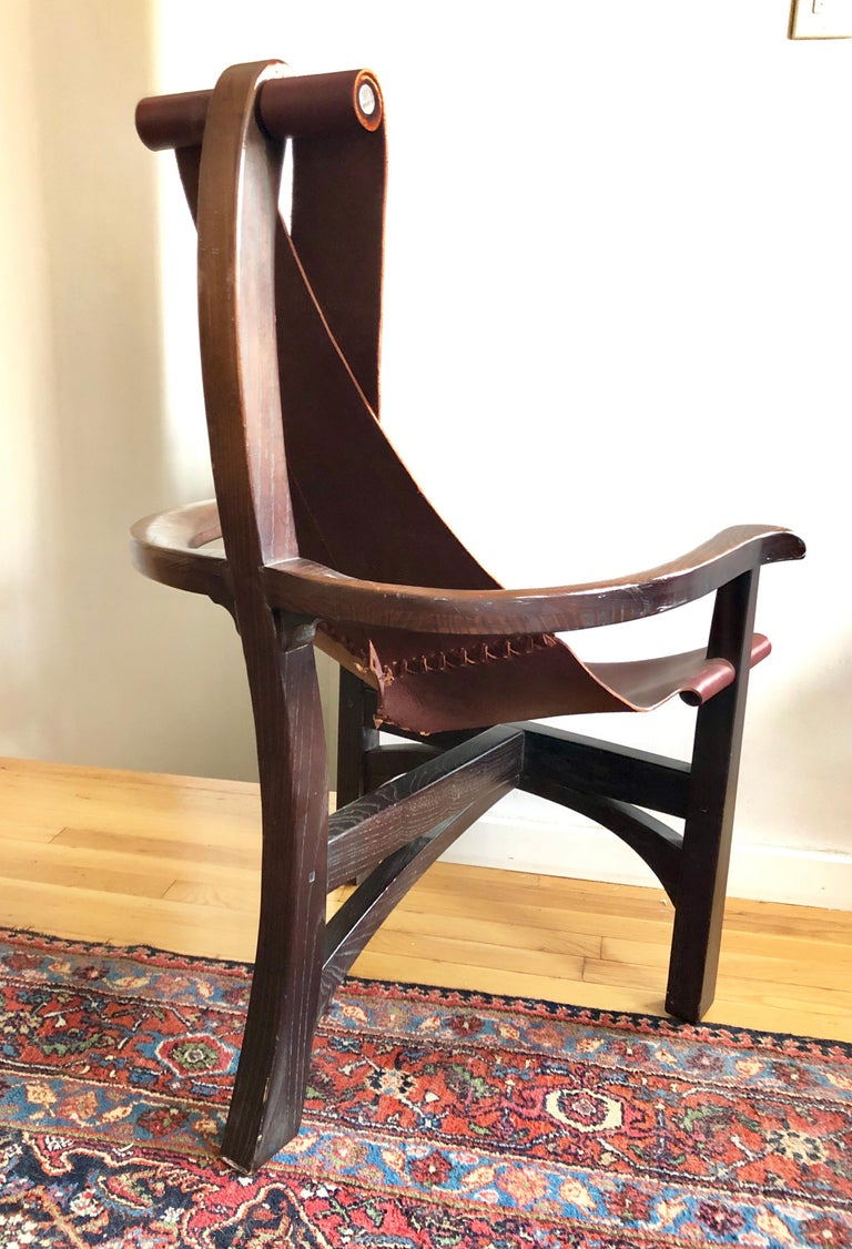 Pair of California Studio Leather Sling Chairs For Sale 4