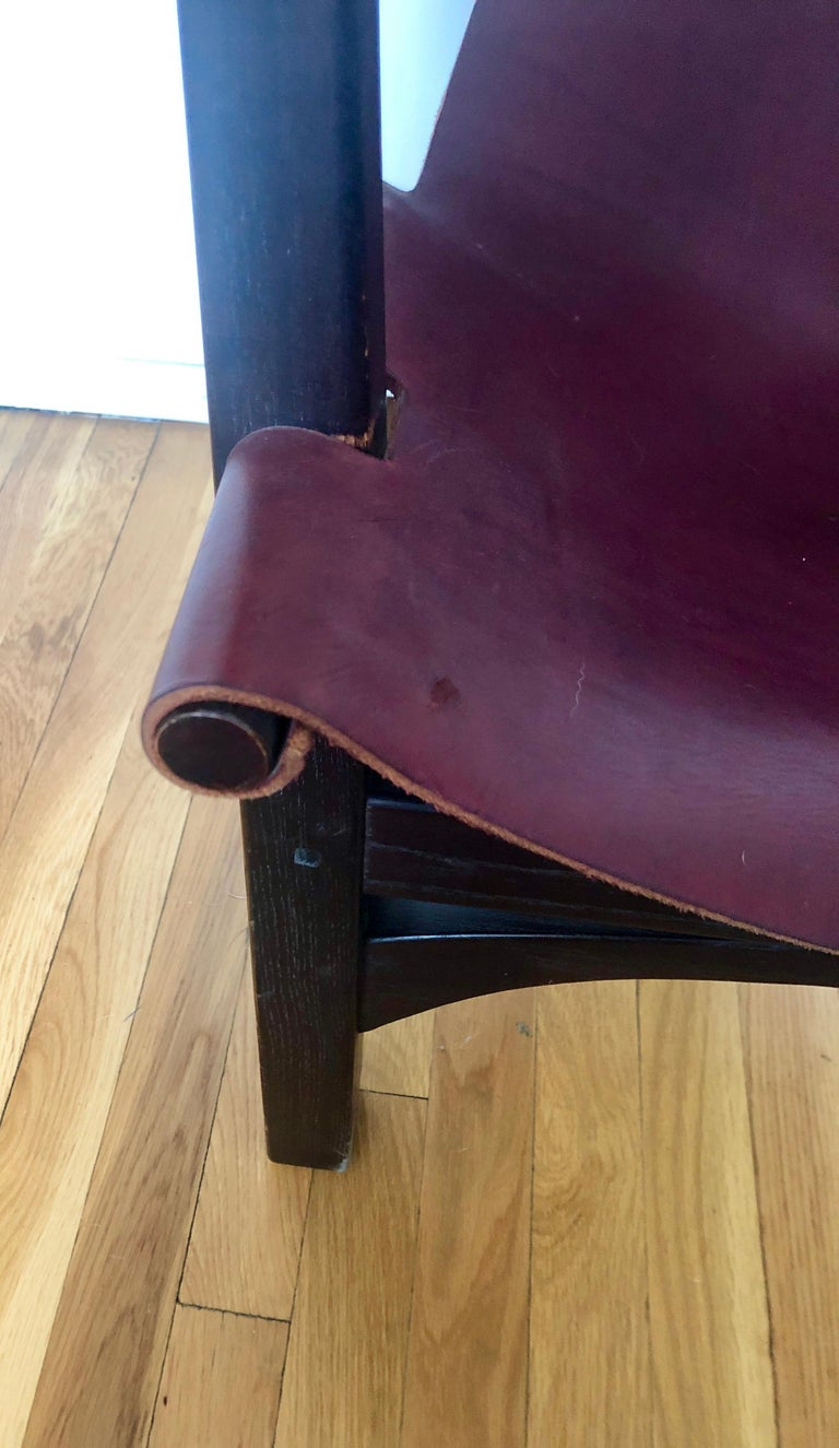 Pair of California Studio Leather Sling Chairs For Sale 1