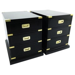 Pair of Campaign Style Black Lacquered and Brass End/Side Tables