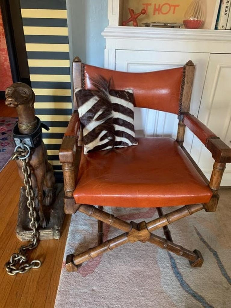 Pair of Campaign Style Leather and Wood Chairs For Sale 4