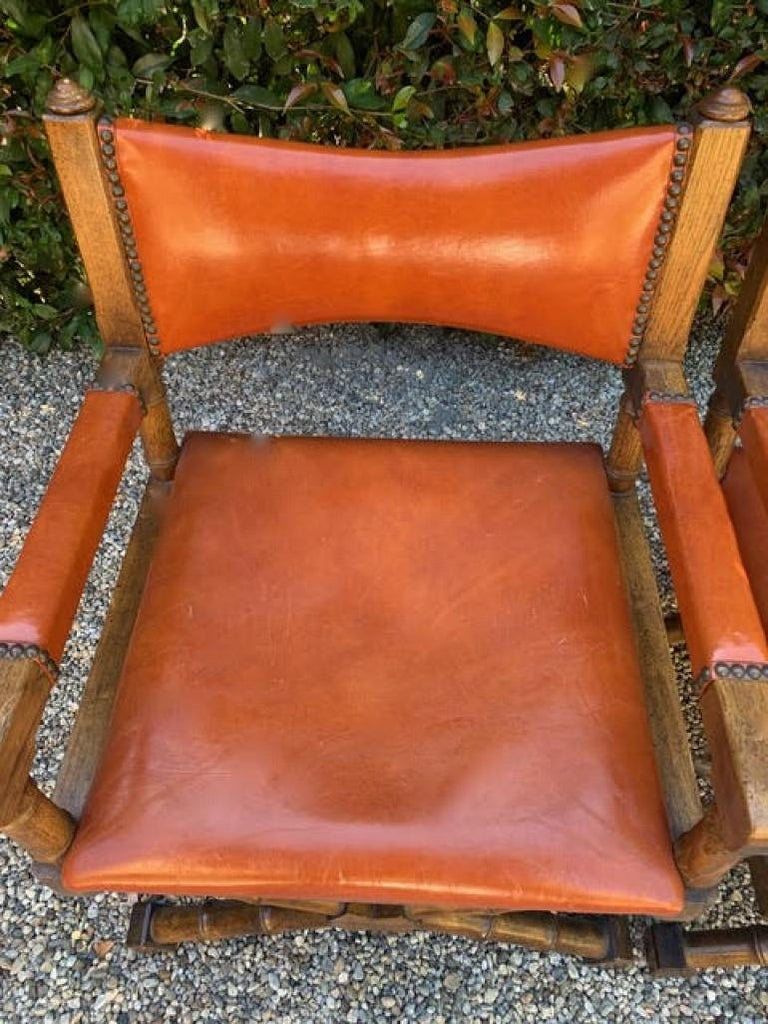 American Pair of Campaign Style Leather and Wood Chairs For Sale