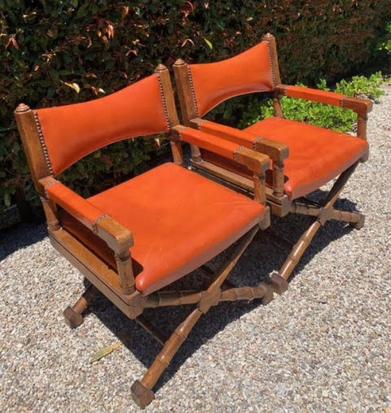 20th Century Pair of Campaign Style Leather and Wood Chairs For Sale