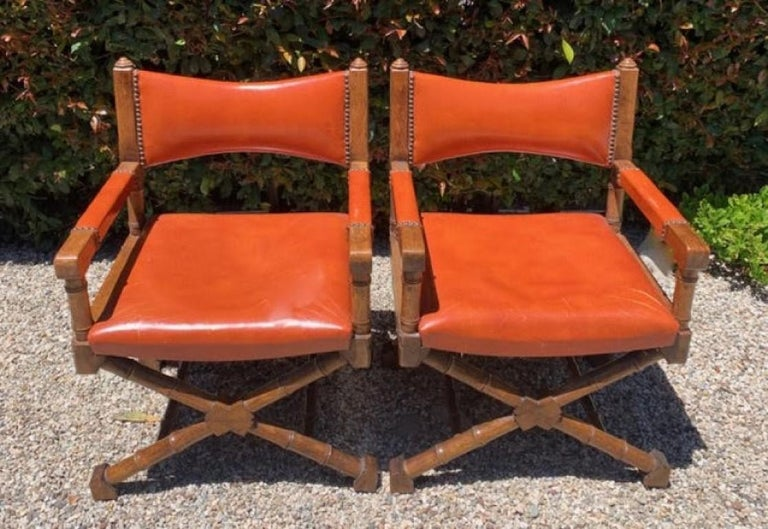 Pair of Campaign Style Leather and Wood Chairs For Sale 2