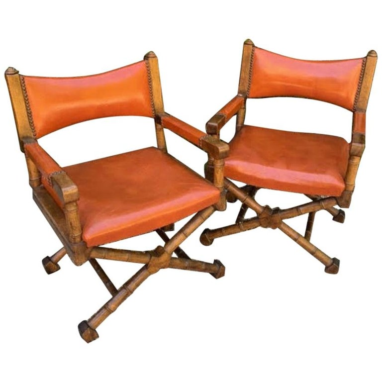 Pair of Campaign Style Leather and Wood Chairs For Sale