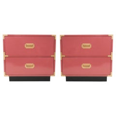 Pair of Campaign Style Nightstands/Bedside Tables Lacquered in Pink