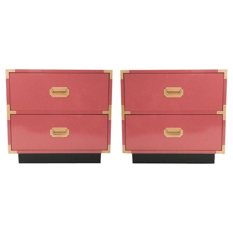 Pair of Campaign Style Nightstands/Bedside Tables Lacquered in Pink For Sale