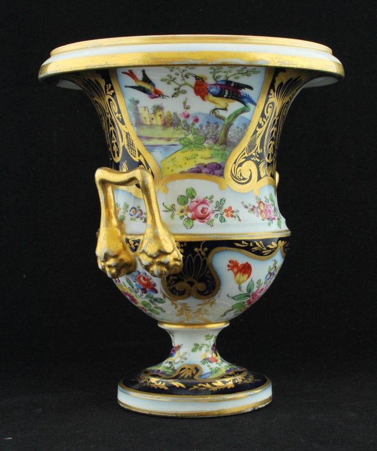 Pair of Campana Vases, Dublin Decorated, Derby Porcelain Works, circa 1810 In Excellent Condition For Sale In Melbourne, AU