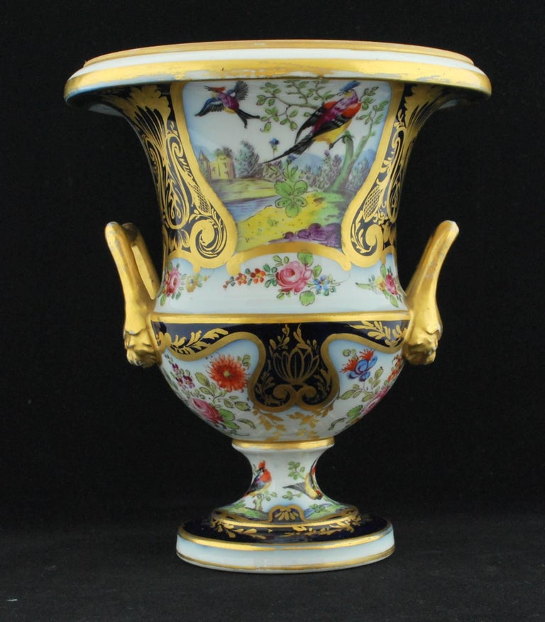 Pair of Campana Vases, Dublin Decorated, Derby Porcelain Works, circa 1810 For Sale 2